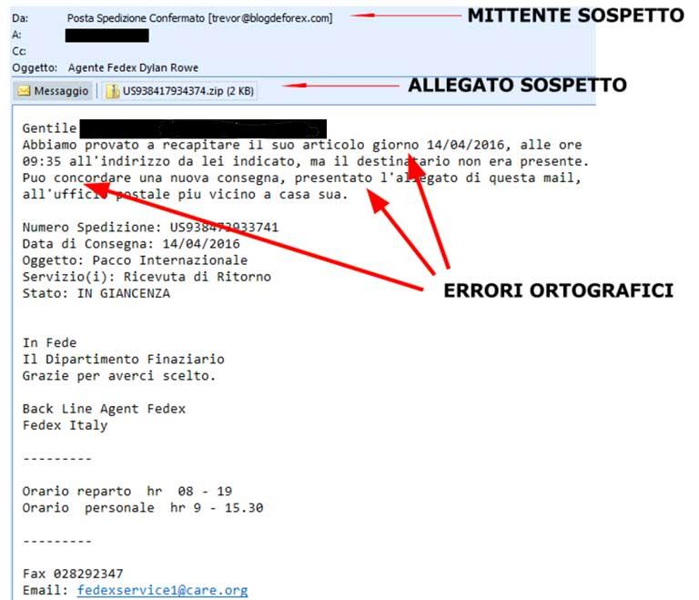 Esempio spam mail con virus